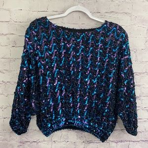 Three Flaggs Sequin Blouse Size Small